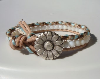 Shell Beaded Leather Friendship Bracelet with Daisy Button