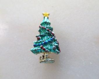 Vintage Christmas Tree Enamel  Brooch