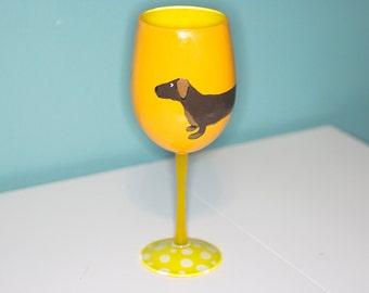 Yellow Weenie Dachshund Hand Painted Wine Glass Mustard Yellow