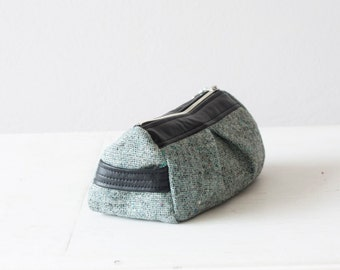 Makeup bag mint green and black leather,accessory bag,makeup case,zipper pouch,cosmetic case in wool and black leather