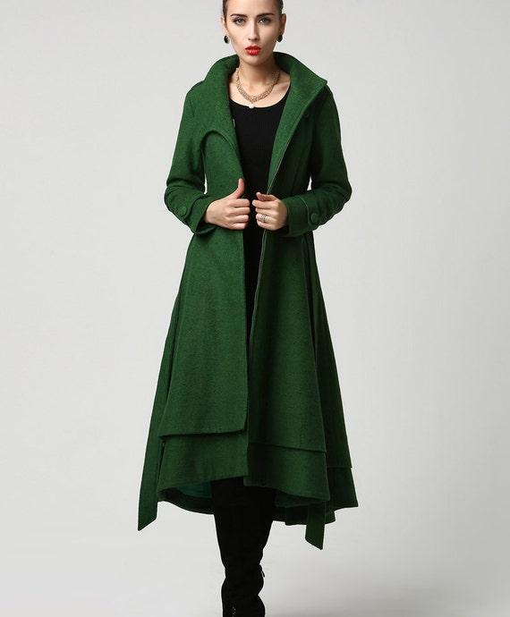 Coat wool coat women green coat long coat dark green