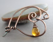 Handmade swirly heart shawl pin or scarf pin with honey color drop dangle - many colors available - Heart pin