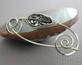Silver shawl pin or scarf pin with herringbone wrapped black and clear acrylic bead - Many colors available