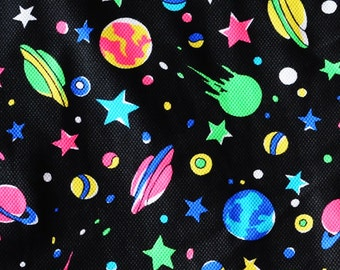"neon space print 4 way stretch fabric, 60""w x 54"""