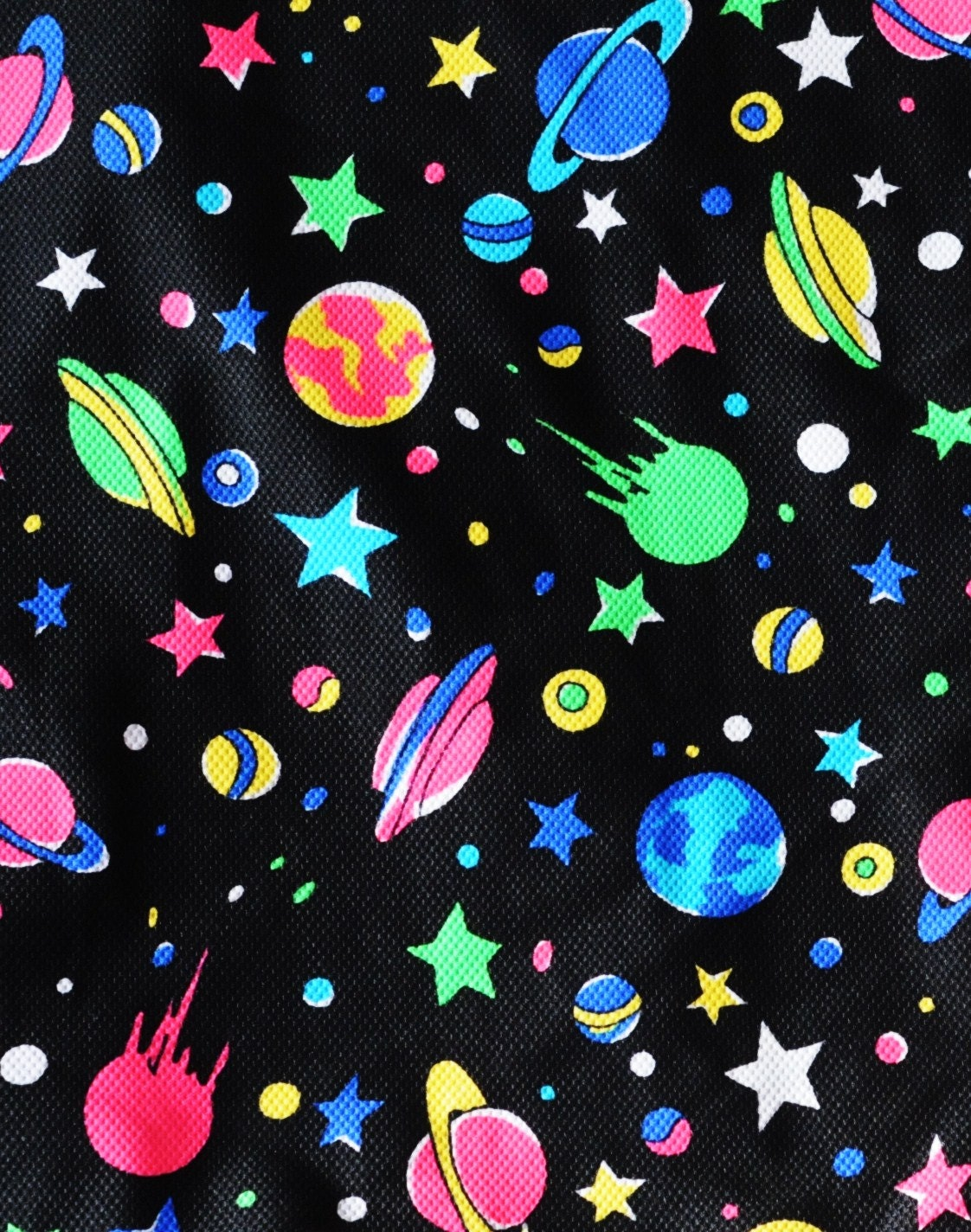 Neon space print 4 way stretch fabric 60 w x 54 from for Outer space fabric by the yard