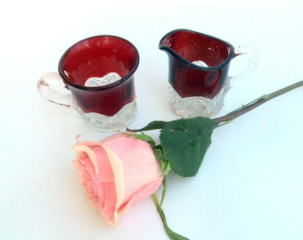 Vintage Ruby Glass, 1900s EAPG, Toothpick Holders,Shot Glasses, Collectibles, Daisy and Button, hobstar patterns, Holiday gift, Dining table