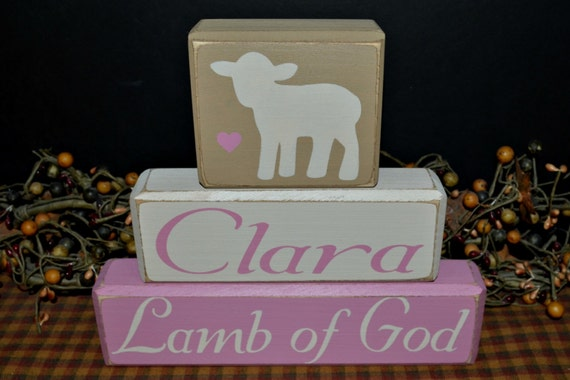 Lamb of God custom personalized nursery wood blocks sign