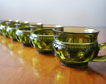 Six Vintage Indiana Glass - Kings Crown or Thumbprint - Punch Glasses - Green - Retro 1960's