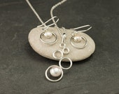 Pearl Necklace, Pearl Earrings- Pearl Jewelry Set- Sterling Silver Jewelry Set- 2 piece set