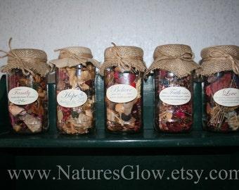 SPECIAL - 3 Potpourri Jars - Love - Hope - Faith - Believe - Family - Message Jars - Recycled Jars with Burlap Decor - CHOOSE 3 Jars