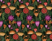 SALE - Windham Fabrics - Wild Field Collection by Dinara Mirtalipova - Large Firn Floral in Black