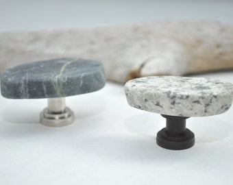 Made to Order - Sliced Grey & Black Mosaic Tile Cabinet Knobs Pulls