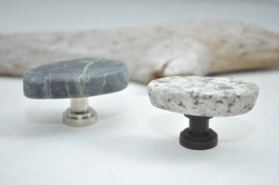 Made to Order - Sliced Grey & Black Mosaic Tile Cabinet Knobs Pulls