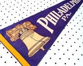 Vintage Philadelphia, Pennsylvania Souvenir Felt Pennant (1960s)