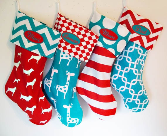 Christmas Stockings, 4 custom holiday stockings, personalized custom christmas decorations, polka dots, chevrons, matching family stockings