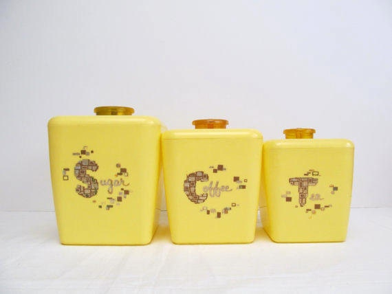 mid century yellow kitchen canisters