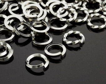 50 Nickel Free Stainless Steel Jump Rings - 14 or 18 Gauge - Square, Square on Edge or Twisted - Choice of Diameter
