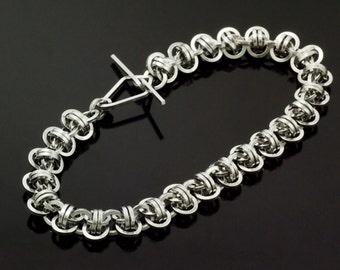 Half Price Sale Square Aluminum Barrel Weave Chainmaille Bracelet Kit or Ready Made - Perfect for Beginners But Fun for All