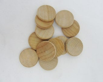 """50 wooden 3/4"""" Circles, .75 inch wood disc,  .75""""  x 1/8"""" wood disk unfinished DIY"""
