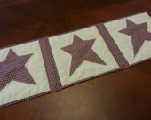 "Primitive table runner with red plaid homespun stars 10 1/2"" x33"". Free shipping to USA"
