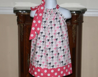 Pillowcase Dress, cute Easter dress in houndstooth fabric, pink, gray, white, black, dressesby blakeandbailey