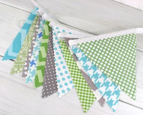Bunting Fabric Banner, Fabric Flags, Nursery Decor, Birthday Decoration, Baby Shower - Aqua Blue, Gray, Grey, Green, Chevron, Dots