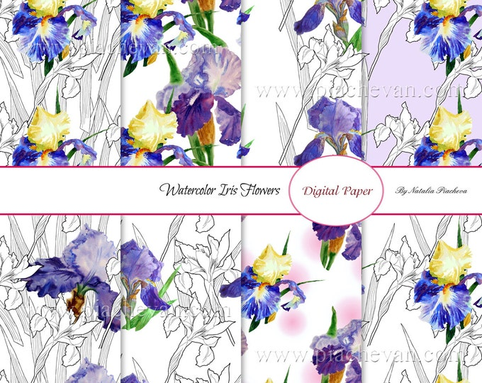 Digital paper with watercolor irises,bouquet, flowers, seamless pattern, botanical, Mothers day,spring flowers, iris, watercolor