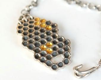 Honeycomb bracelet sterling silver chain bracelet with 22K gold honeycomb cells