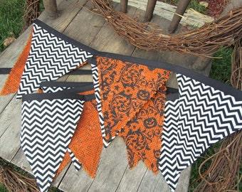 Orange/Black Halloween Burlap Owl Damask and Printed Chevron Fall Banner/Bunting