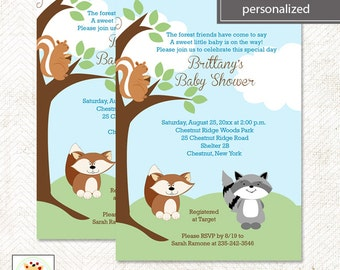 Enchanted Forest Squirrel, Fox and Raccoon Baby Shower Invitatons Printable DIY File ~ Printed options available