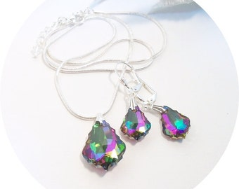 Necklace and Earrings, Baroque Style, Purple and Green, Bridesmaid Jewelry, Bridesmaid Gift, Pendant Necklace, Bridal Accessories, Silver