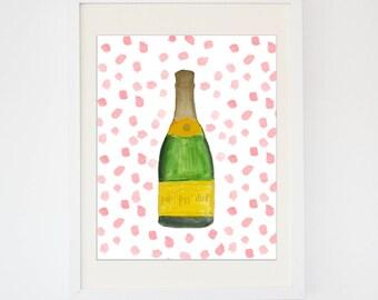 Confetti Fun Champagne Watercolor -- Bar Car Print
