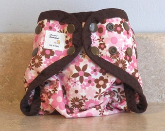 Preemie Newborn PUL Diaper Cover with Leg Gussets- 4 to 9 pounds- Pink & Brown Flowers