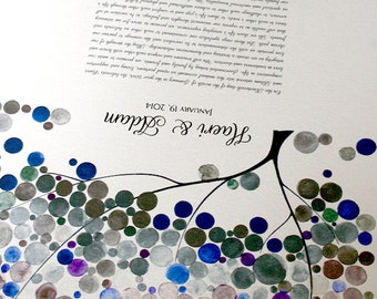 Modern Wedding Ketubah, Under the Chuppah abstract minimalist painting reproduction Ketubah on Sand background