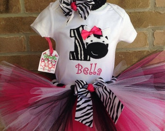 Zebra Birthday Custom Boutique Monogrammed personalized Zebra & Hot pink  Tut set  6m- to 5T