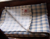 Homespun Cotton Blue and Cream Plaid Kitchen Dish Towel By Autumn Rain Creations Set of 4