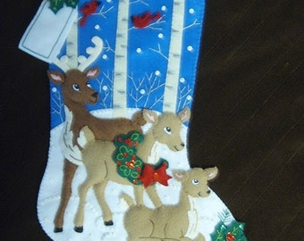 Bucilla Completed Felt DEER FAMILY Christmas Stocking