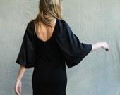 Harlow Dress, women's dress, merino wool jersey and silk, little black dress, modern dress, made to order