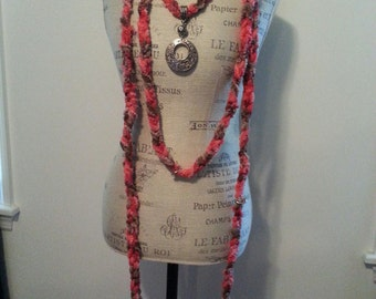 """Hand Knotted Fashion """"Scarf-lace"""" in Coral Colorway"""