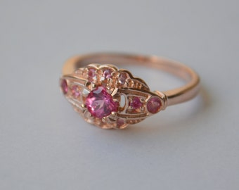 Victorian Inspired Scalloped Ring in 14 K Rose Gold with Mahenge Spinel