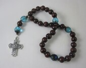 Teal Fire-Polished Glass and Wood Prayer Beads