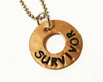 SURVIVOR - Copper Charm Pendant, Hammered Washer Charm, Hand Stamped, Rustic, Organic, Can be Customized