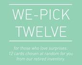 we-pick 12 cards. bulk pack. letterpress cards.