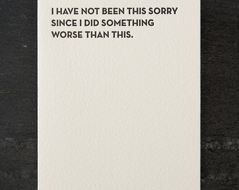 sorry. letterpress card. #102