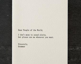 people/grammar. letterpress card. #259