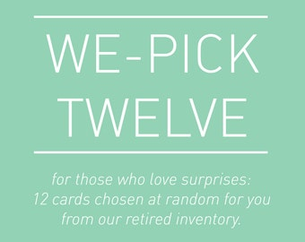 we-pick 12 cards. bulk pack. letterpress cards.