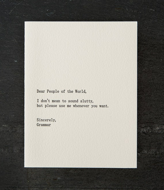 people/grammar. letterpress card. #259
