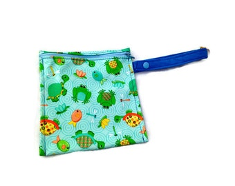 Washable Reusable Snack or Sandwich Bag Pond Animals