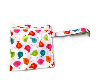 Washable Resuable Snack or Sandwich Bag Neon Birds