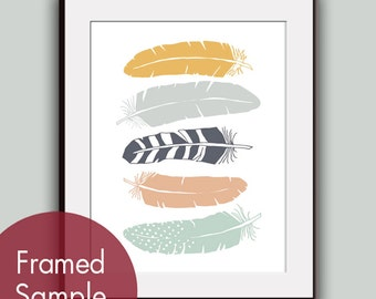 Stacked Tribal Feathers - Art Print (Featured in Assorted Colors) Modern Tribal Design / Custom Colors Available